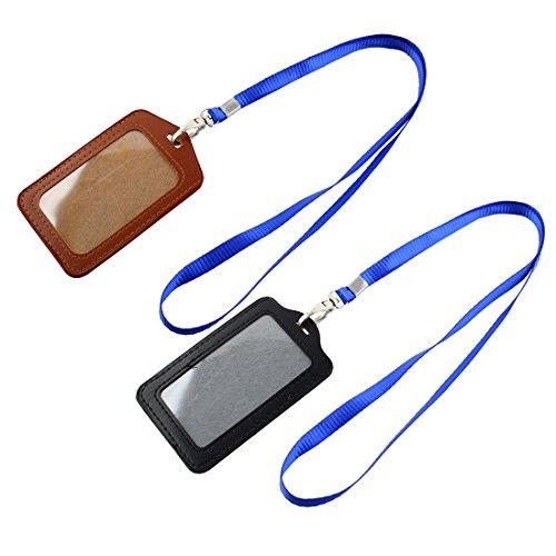 Sourcingmap Porta-badge e porta-carte in pelle sintetica, stile business Nero/marrone