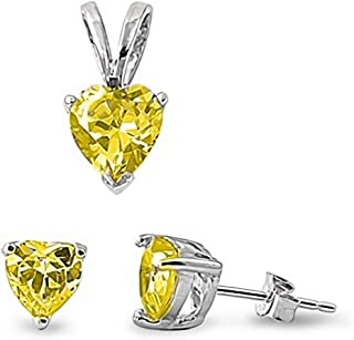 Glitzs Jewels 925 Sterling Silver Pendant and Earrings Jewelry Gift Set for Women (Yellow CZ)