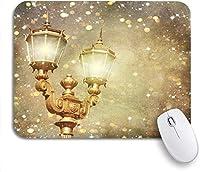 ECOMAOMI 可愛いマウスパッド ビクトリア朝のクリスマスイブニング冬の風景ヴィンテージ街灯美しい黒ノンスリップラバーバッキングマウスパッドノートパソコン、マウスマット