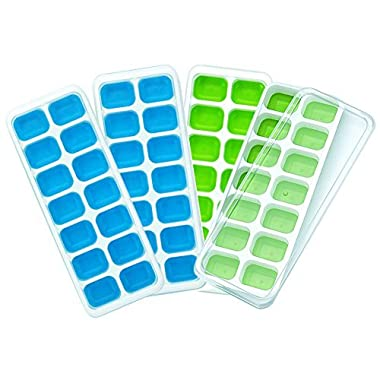 CATWALK Silicone Ice Cube Trays 4 Pack with Removable Lids, 56 Ice Cubes Molds Easy-Release Stackable LFGB/FDA Approved BPA-free Ice Cube Tray Set