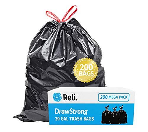 Reli. 39 Gallon Trash Bags Drawstring (200 Count Bulk) Large 39 Gallon Heavy Duty Drawstring Trash Bags - Black Garbage Bags 39 Gallon Capacity, Lawn Leaf (39 Gal)