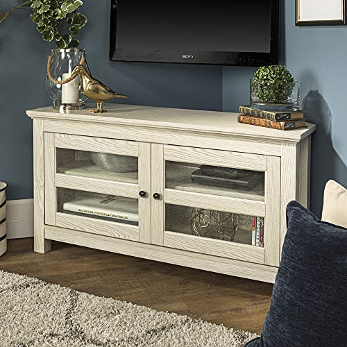 WE Furniture Modern Farmhouse Wood Corner Universal Stand for TV's up to 50' Flat Screen Living Room Storage Entertainment Center, White Wash