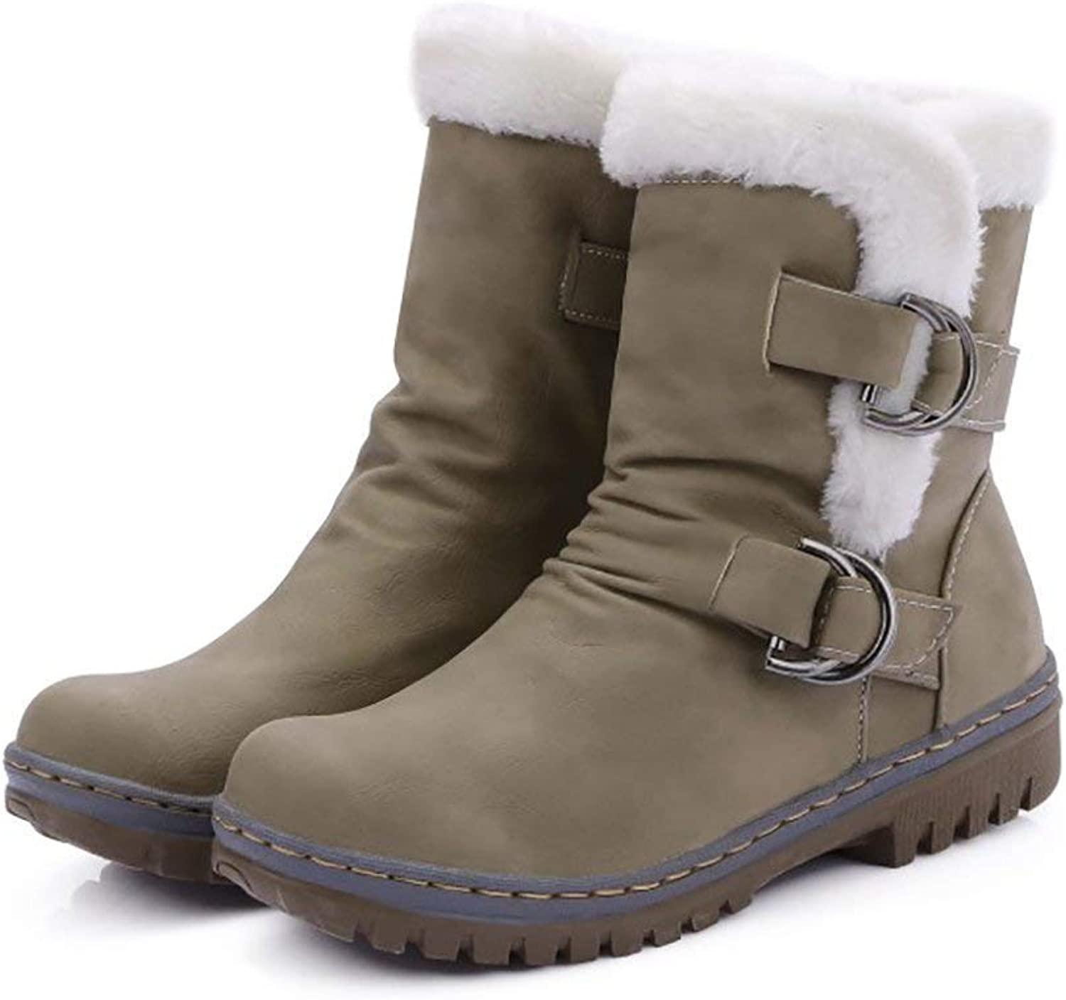 Women Winter Snow Boots Buckles Warm Waterproof Faux Fur Cozy Flat Heels Slip On Ankle Boots