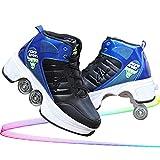 MENG Roller Skates Pour Adultes Femmes Et Les Hommes, Haut-Top Rollerskates Sont Populaires Pour Les Sports de Plein Air Intérieur, 2-En-1 Parkour Chaussures Chaussures À Double Rangée Avec Roues Pou