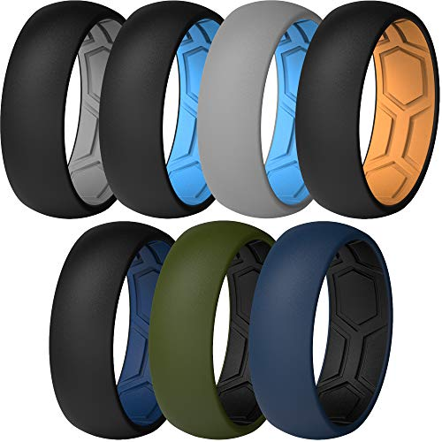 ThunderFit Men Breathable Air Grooves Silicone Wedding Ring Wedding Bands 8mm - 7 Rings (Combination A, Size 9.5 - 10 (19.8mm)