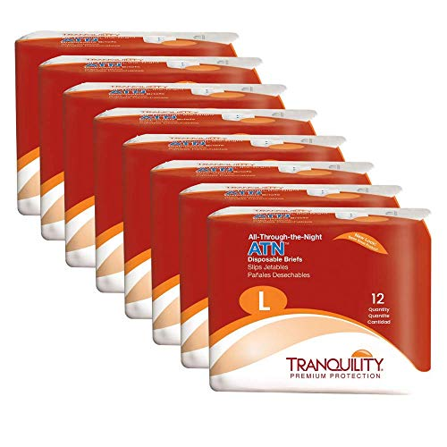 "Tranquility ATN Adult Disposable Briefs with All-Through-The-Night Protection, L (45""-58"") - 96 ct (Pack of 8)"