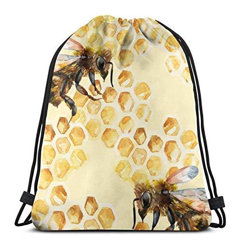 Bees With Honeycomb - Mochila deportiva con cordón para gimnasio, bolsa de viaje para niños, hombres y mujeres