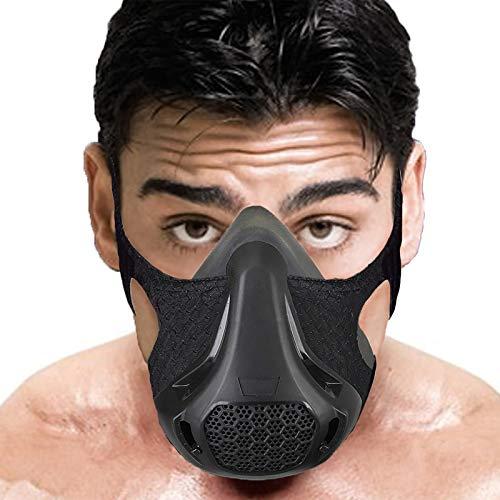 Ivsun Elevation Masken Workout-Maske, 24 Atemstufen, Fitness, Laufen, Training, Sport, Radfahren, Joggen, Ausdauer, Widerstand, Cardio, Training, Fitnessstudio, Maske für hohe Höhen (Schwarz-1)