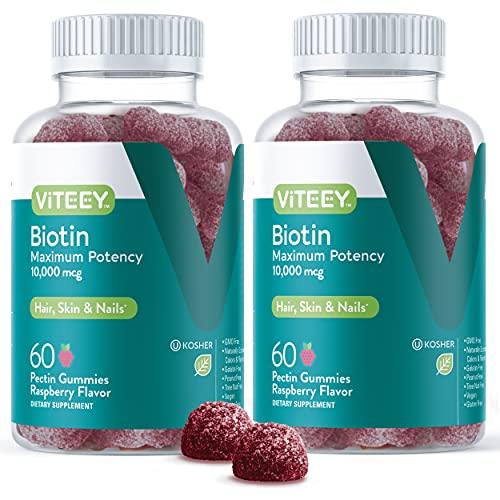 Biotin Gummies 10,000mcg - Highest Potency Vitamin B7 for Healthy Hair Growth, Skin & Nails - Dietary Supplement, Vegan, Pectin Gummy - for Adults Teens & Kids -Raspberry Flavor [60 Count-2 Pack]