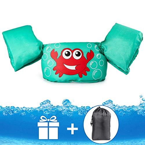 JEVDES Schwimmflügel Puddle Jumper, für Kinder und Kleinkinder von 2-7 Jahre, 14-23kg, Schwimmhilfe mit verschiedenen Designs für Jungen und Mädchen (Krabbe)