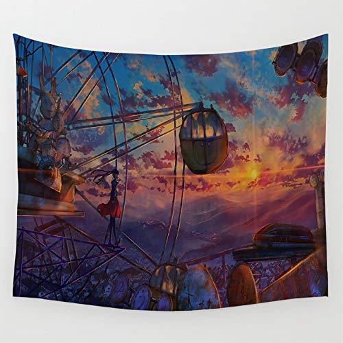 Tapiz para decoración de dormitorio, diseño de anime, paisaje de niña en una noria al atardecer, decoración de habitación de regalo espiritual 210 x 150 cm