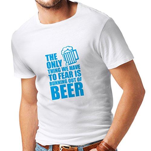 lepni.me Camisetas Hombre Tener Miedo de no Tener una Cerveza - para la Fiesta, Bebiendo Camisetas (Large Blanco Azul)