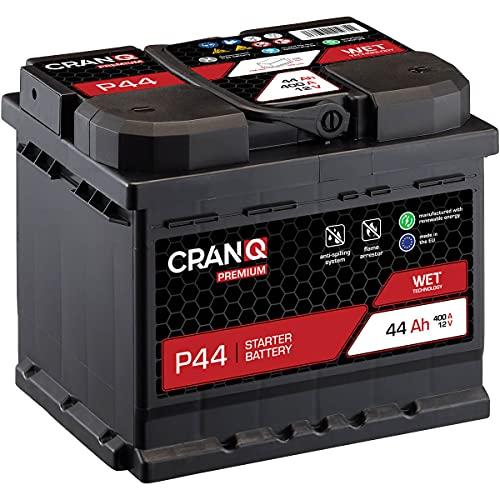 CranQ Autobatterie 44Ah 12V 400A Kaltstartkraft, Starterbatterie Blei-Säure Premium-Serie Ca-Technologie, hohe Startleistung P44 wartungsfrei