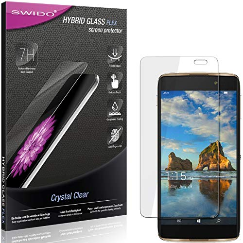 SWIDO Panzerglas Schutzfolie kompatibel mit Alcatel Idol 4 Pro Bildschirmschutz-Folie & Glas = biegsames HYBRIDGLAS, splitterfrei, Anti-Fingerprint KLAR - HD-Clear