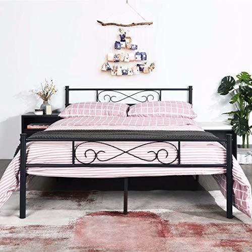 EGOONM Dubbel bed bedframe - 4ft Bedframe met lattenbodem logeerbed ,kinderbed kinderkamerbed logeerkamer bed ,Zwart