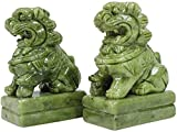 Fu Foo Dogs Statues Decoration Chinese Feng Shui Jade Lions Ornaments Antique Carving Artwork Suitable Home Office Collectible Figurines A Pair 1.23 (Size : Large)