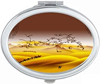 Desert Along the Way to the Silk Road Map Mirror Portable Fold Hand Makeup Double Side Glasses