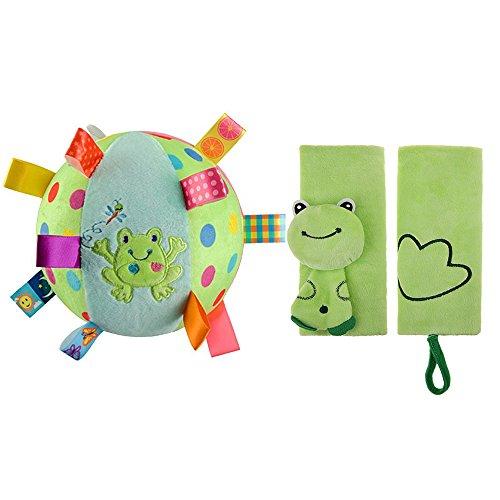 INCHANT Baby Soft vert peluche balle cloche anneau Boule et vert de sécurité Seat Cartoon voiture Ceinture animal Couverture ÉPAULETTE, 2pcs