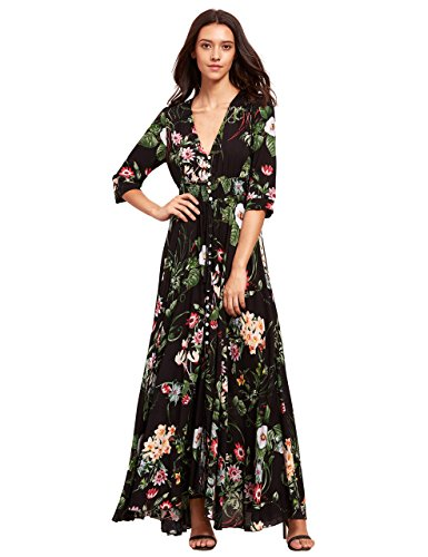 Milumia Women's Button Up Split Floral Print Flowy Party Maxi Dress Small Black_Green