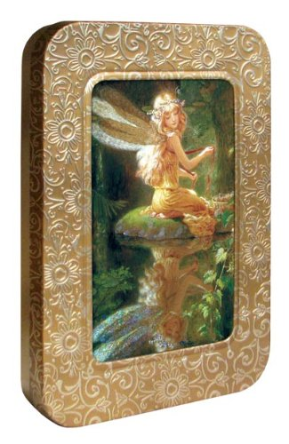 Tree-Free Greetings Noteables Notecards In Reusable Embossed Tin, 12 Card Assortment, Recycled, 4 x 6 Inches, Faery Reflection, Multi Color (76045)