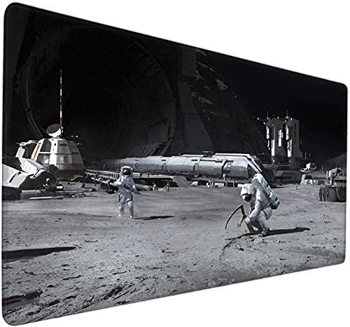 Alfombrilla de ratón para juegos extendida Espacio creativo ciencia ficción astronauta alien base grande alfombrilla de ratón XXL Mapa del mundo alfombrilla de ratón 900x400x3mm