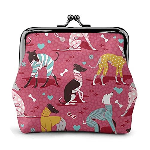 Bolso Vintage con diseño de Perro Galgo Rojo para Chica, Monedero con Cierre de Beso, Monedero con Hebilla, monederos de Cuero con Hebilla para Mujer
