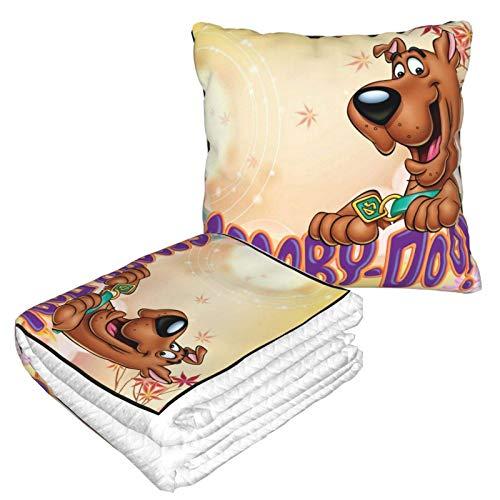 N \ A Scooby Doo Manta de viaje y almohada, funda de almohada de terciopelo, cálida y suave franela 2 en 1 combo para avión, camping, viajes en coche