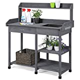 Yaheetech Outdoor Garden Potting Bench Metal Tabletop with Cabinet Drawer Shelf Work Station Natural Wood