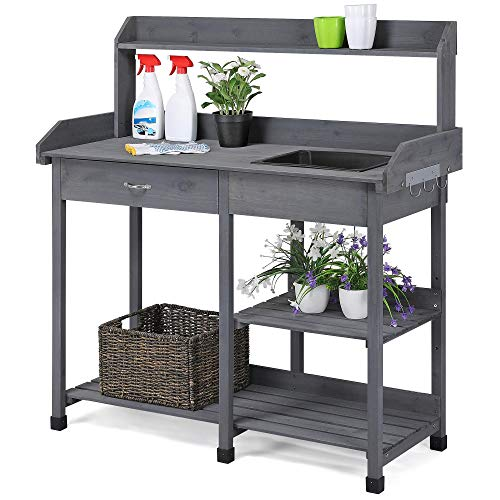 YAHEETECH Outdoor Potting Bench Table Potters Benches Garden Work Bench Station Workstation with Drawer/Adjustable Shelf Rack/Removable Sink/Hooks/Pads Gray Solid Wood