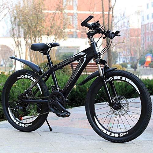 HongLianRiven BMX Gebirgsfahrrad, 20 Zoll, 22 Zoll, 24 Zoll, 26 Zoll Mountainbike, Federgabel, Erwachsene Fahrrad, Jungen und Mädchen Fahrrad 7-20 (Color : Black, Size : 24 inches)