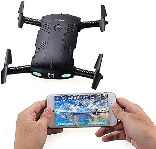 J-Clock Dron Plegable WiFi y cámara HD Control teléfono WiFi Quadcopter Retención Altura, Mini Juguete UVA caída 3D para niños y Principiantes Negro