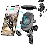 iMESTOU Anti-Thief Motorcycle Wireless Phone Mount Charger 15W & USB C 3A Handlebar 1' Ball Stem Phone Holder Works with 12V/24V Vehicle/USB Socket 720 Rotation Quick Charge for 4.0-7.0' Cellphones