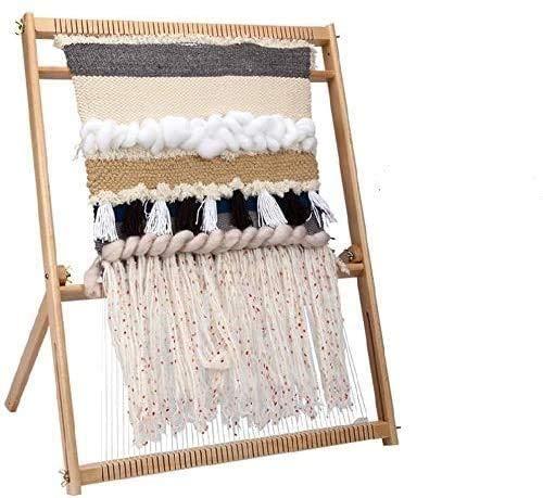 S SMAUTOP - Kit de telar para tejer tapiz para tapiz, arte de pared, tejido, marco de madera, kit de manualidades...