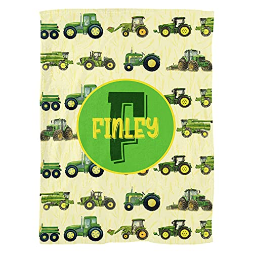 Excelliti Personalized Tractor Blankets Farm Agricultural Vehicles Gift Kids Toddler Infant 3 Sizes Fleece Throw Blanket Ultra Softs for Nursery Baby Shower Birthday Any Occasions (Medium (50x60in))