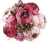 Jyi Hope Fake Flowers Vintage Artificial Peony Silk Flowers Faux Peonies Arrangement Bouquet Home Table Centerpieces Wedding Decoration (Dark Pink)