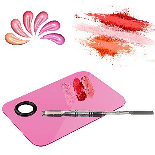 1 Palette de maquillage professionnelle en acier inoxydable avec spatule pour nail art, maquillage des cils, ombre à paupières, rectangulaire
