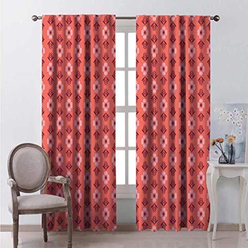 Toopeek 99% blackout curtains Flower Floral Romance For bedroom kindergarten living room W108 x L108 Inch