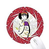 日本の着物の少女のパターン 円形滑りゴムの赤のホイールパッド