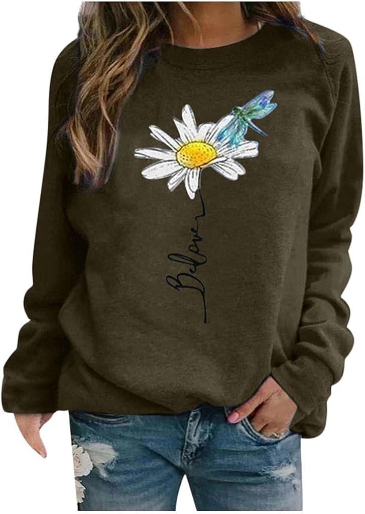 Sweatshirts for Women Long,Womens Crewneck Sweatshirts Tops Vintage Landscape Print Long Sleeve Pullover Shirts