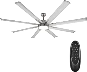 72 Inch Damp Rated Industrial DC Motor Ceiling Fan with LED Light, Reversible Motor and Blades, ETL Listed Indoor Ceiling Fans for Kitchen Bedroom Living Room, 6-Speed Remote Control