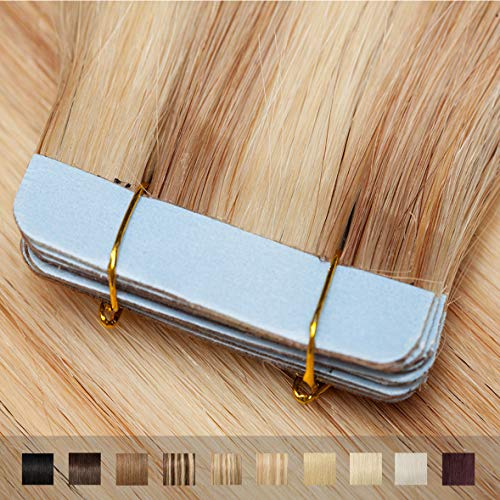 TESS Tape Extensions Echthaar Ombre Hellgoldblond/Blond #18/613 Klebeband Haarteile Tape in Haarverlängerung Remy Human Hair Glatt 10 Stück 16