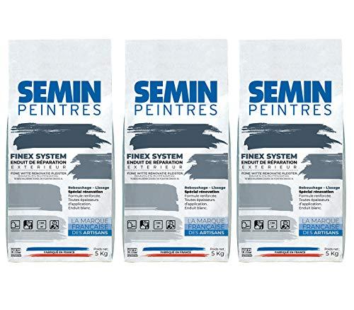 Semin A00543 Reboucheur Extérieur, Enduit de Réparation, Rebouchage, Réparation et Lissage, très Forte Adhérence, Sac de 5 kg (Lot de 3)