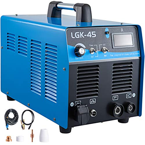 Mophorn 45 Amp Plasma Cutter with Built-In Air Compressor 220V Portable Plasma Welder Plasma Cutting Machine IGBT Inverter Digital Plasma Welding Machine(45 Amp with Air Compressor)