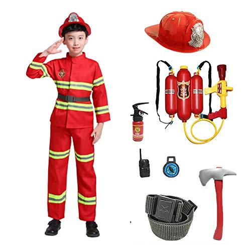 AMBH Costume de pompier pour enfants, garçons, filles, tout-petits et enfants avec accessoires complets de pompier (taille S, couleur : rouge)
