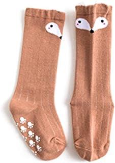 Beito, Bebé Niños calcetines largos Dibujos de algodón animal de la rodilla Medias Altas piso calcetines adecuados para la edad 0-1 Niño Niña (color café)