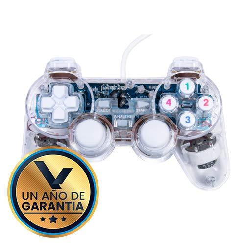 Control alambrico con Luz USB Blanco Generico Compatible para PlayStation 3 / PC