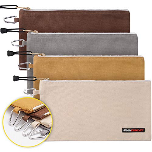 Utility Bag, Canvas Zipper Tool Bags - Heavy Duty Tools Pouch with Carabiner, Multi-Purpose Storage Organizer Clip on Tote Pouches in White, Gray, Tan, Brown, 4 Pack