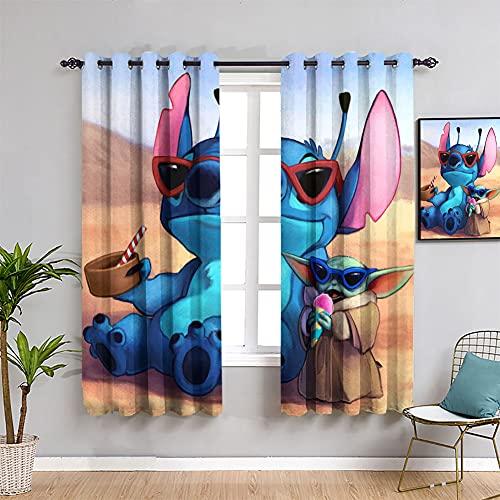 Trelemek Anime 3D - Cortinas opacas aislantes térmicos para niños, con ojales y ojales para ventana, 55 x 45 cm