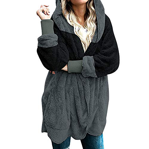 Yowablo Strickjacke Damen Cardigan Grobstrick mit Kapuze gefüttert Outwear Langarm für Herbst Winter Winterjacke (3XL,1- Schwarz)