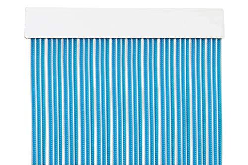 MERCURY TEXTIL Cortina para Puerta Tiras PVC 210x90cm,Cortina para Puerta Exterior (Azul +Filo Blanco)